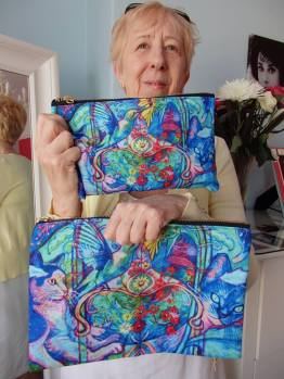Barbara Kell zippered pouches.